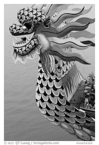 Prow of dragon boat. Hue, Vietnam (black and white)