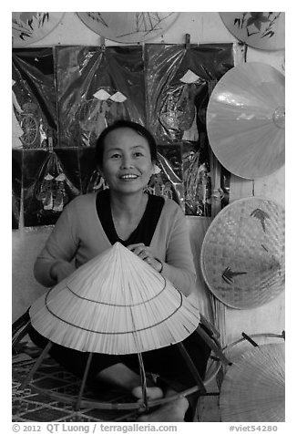 Woman making the Vietnamese conical hat. Hue, Vietnam (black and white)