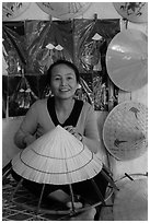 Woman making the Vietnamese conical hat. Hue, Vietnam ( black and white)