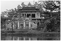 Newly built temple, Thanh Toan. Hue, Vietnam (black and white)