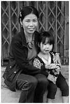 Girl and mother, Thanh Toan. Hue, Vietnam (black and white)