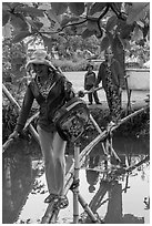 Women crossing monkey bridge, Thanh Toan. Hue, Vietnam ( black and white)