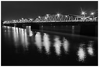 Trang Tien Bridge by night. Hue, Vietnam (black and white)