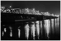 Eiffel-designed Trang Tien Bridge at night. Hue, Vietnam (black and white)