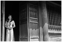 Woman in doorway, Temple of the Litterature. Hanoi, Vietnam ( black and white)