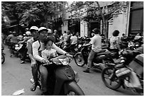 Busy street, old quarter. Hanoi, Vietnam (black and white)