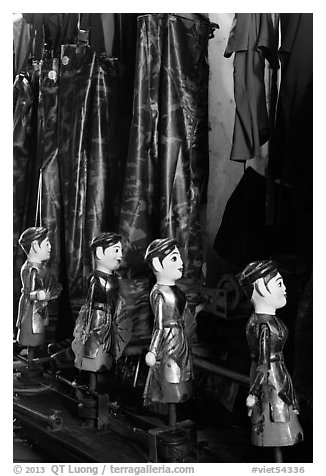 Puppets and waterproof bibs, Thang Long Theatre. Hanoi, Vietnam (black and white)
