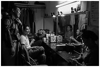 Artists backstage before water puppet performance, Thang Long Theatre. Hanoi, Vietnam (black and white)