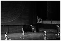 Water puppets and puppeters, Thang Long Theatre. Hanoi, Vietnam (black and white)