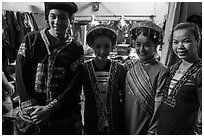Water puppet artists backstage, Thang Long Theatre. Hanoi, Vietnam (black and white)