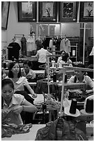 Women in sewing factory. Vietnam (black and white)