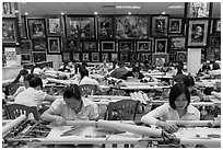 Workers in embroidery factory. Vietnam (black and white)
