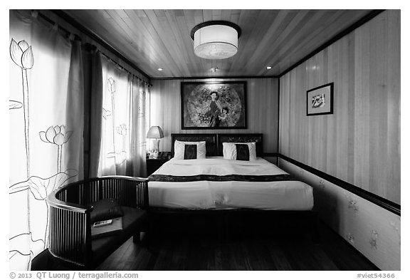 Cruise boat stateroom with curtains drawn. Halong Bay, Vietnam (black and white)