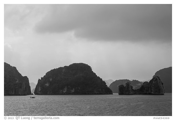 Limestone monolithic islands. Halong Bay, Vietnam (black and white)