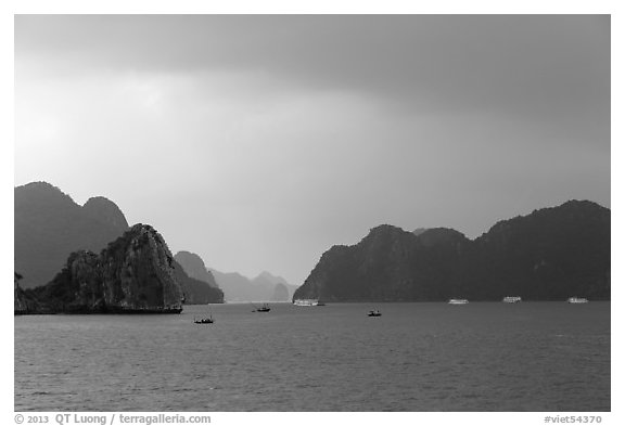 Approaching rain. Halong Bay, Vietnam (black and white)