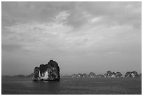 Limestone islets. Halong Bay, Vietnam (black and white)