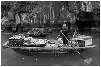 Grocer on rowboat. Halong Bay, Vietnam ( black and white)