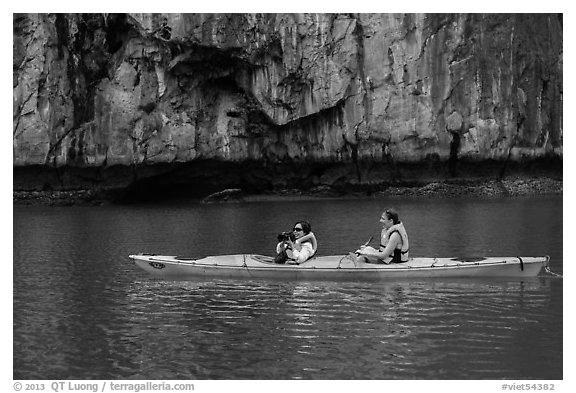 Paddlers. Halong Bay, Vietnam (black and white)