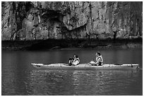 Paddlers. Halong Bay, Vietnam ( black and white)