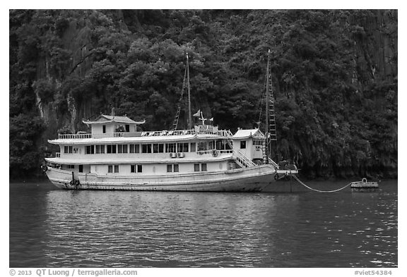 Tour boat painted white. Halong Bay, Vietnam (black and white)