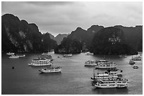 Tour boats and karstic islands from above. Halong Bay, Vietnam ( black and white)