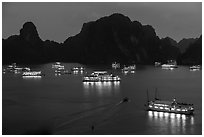 Flotilla of tour boats and islands at night. Halong Bay, Vietnam (black and white)