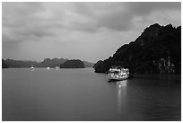 Tour boats at dawn. Halong Bay, Vietnam (black and white)