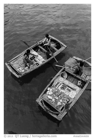 Vendors on boats seen from above. Halong Bay, Vietnam (black and white)