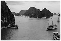 Tour boats and islands from above. Halong Bay, Vietnam (black and white)