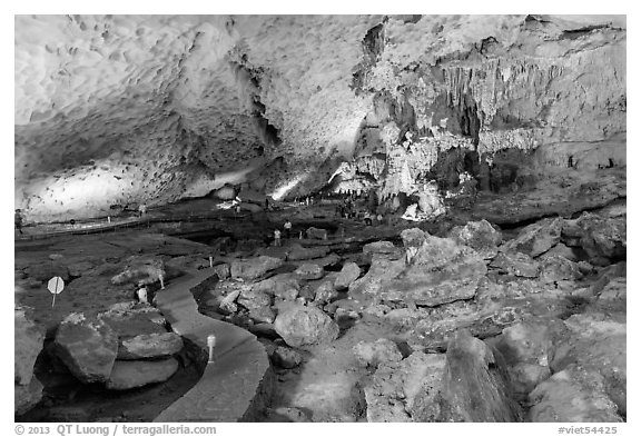 Pathway, Sung Sot (Surprise) Cave. Halong Bay, Vietnam (black and white)