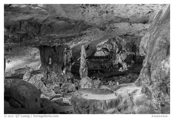 Multicolored lights, Surprise Cave. Halong Bay, Vietnam (black and white)