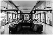Tour boat dining room. Halong Bay, Vietnam (black and white)