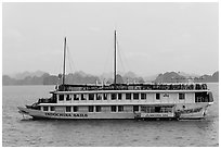Indochina Sails tour boat. Halong Bay, Vietnam (black and white)