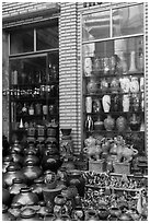 Storefront with ceramic vases. Bat Trang, Vietnam (black and white)
