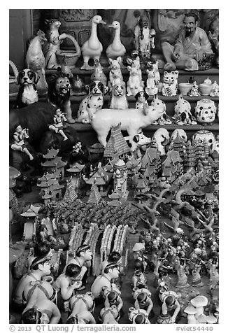 Ceramic craft medley. Bat Trang, Vietnam (black and white)