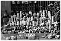 Ceramics for sale. Bat Trang, Vietnam (black and white)