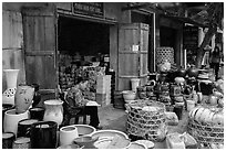 Ceramic stores. Bat Trang, Vietnam (black and white)