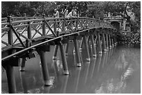 The Huc Bridge leading to Jade Island. Hanoi, Vietnam (black and white)