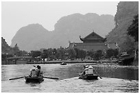 Boats near hall, Trang An. Ninh Binh,  Vietnam (black and white)