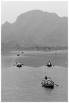 Rowboats on Sao Khe River, Trang An. Ninh Binh,  Vietnam (black and white)