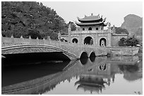 New gate, Hoa Luu. Ninh Binh,  Vietnam (black and white)