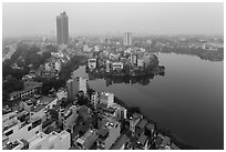 Elevated view of urban area around West Lake. Hanoi, Vietnam (black and white)