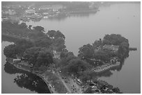 West Lake and pagoda from above. Hanoi, Vietnam (black and white)