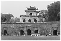 Doan Mon Gate, Thang Long Citadel. Hanoi, Vietnam (black and white)