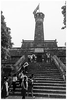 Schoolchildren visiting Flag Tower, Hanoi Citadel. Hanoi, Vietnam (black and white)