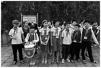 Children of Communist youth organization. Hanoi, Vietnam (black and white)