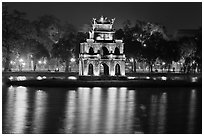 Turtle tower at night, Hoang Kiem Lake. Hanoi, Vietnam (black and white)