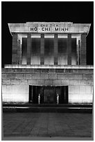 Ho Chi Minh Mausoleum at night. Hanoi, Vietnam (black and white)