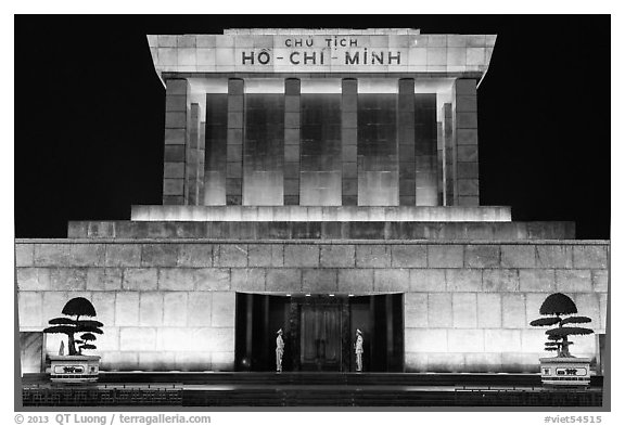 Ho Chi Minh Mausoleum lit in red. Hanoi, Vietnam (black and white)
