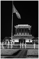 Vietnam flag lowering ceremony, Ho Chi Minh Mausoleum. Hanoi, Vietnam (black and white)